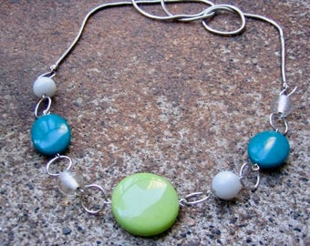 Eco-Friendly Statement Necklace - A Breath of Fresh Air - Recycled Vintage Snake Chain and Beads in Teal Blue, Apple Green, Grey and Clear