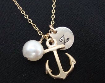 ON SALE Anchor Necklace, Personalized Hand Stamped, gold filled, bridesmaids gifts, nautical theme, beach wedding, friendship lovely gift,