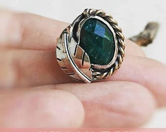 ON SALE Emerald Ring, Statement Ring, Mixed Metals, May Birthstone Jewelry, Gift for Her, Emerald Jewelry, Ready to Ship Size 7.25