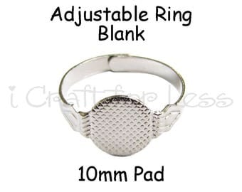25 Adjustable Rings with Glue Pad for Fabric Covered Button Rings - SEE COUPON