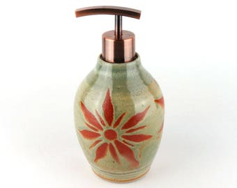 Stoneware Soap / Lotion Bottle - Pottery Soap Dispenser- Lotion Dispenser - 15 oz.- Sage Green / Celery Green with Terracotta Sunburst