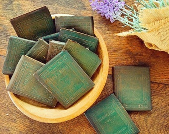 Reading Is Fundamental... Collection of Antique Little Leather Library Books Farmhouse Decor Book Stack Leather Bound