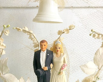 For Better or Worse... Vintage Chalkware Bride and Groom Couple Wedding Cake Topper Bell Keepsake Millinery Lilly of the Valley Tulle