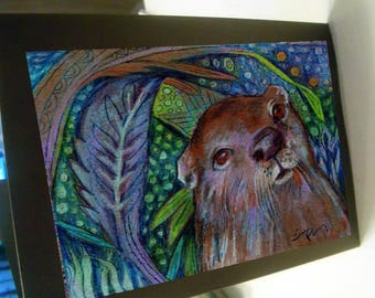greeting card zentangle river otter blank card