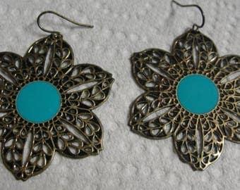 Gold Tone Blue Enamel Pierced Earrings