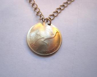 Argentina Golden Rhea coin necklace
