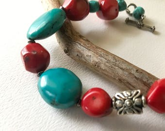 Turquoise and Coral Southwestern Handmade Bracelet  Classic Western Designer Jewelry
