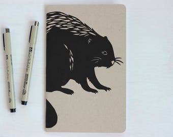 Blank Beaver Notebook, Oregon State, Woodland, Sketchbook, Journal, Drawing Pad, Travel Diary, Graduation Gift, Beaver Art, Gift for Writer