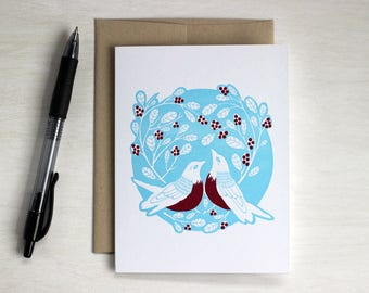 Valentine's Day, Woodland Letterpress Blank Card, Bird Card, Robin Card, Anniversary Card, Engagement Card, Wedding Card, Robin Red Breast