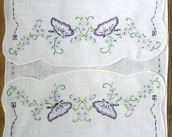 Vintage Embroidered Butterflies & Flowers Long Table Runner, Fine Linen, Lavender, Lilac, Purple Table Scarf, Cloth ... Sewing, Craft Supply