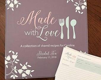 bridal shower recipe binder, recipe cards, bridal shower gift set