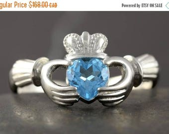 CLOSING SALE Blue Topaz Claddagh Ring in Sterling Silver - Size 5 1/4 ready to be shipped