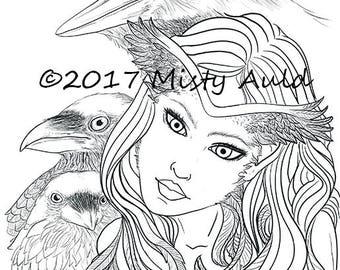 Bryne~ Raven Faerie~ Fantasy Art~ Digital Download