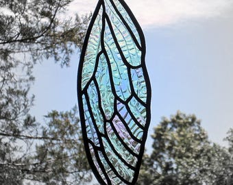 Stained Glass Insect Wing Cicada Iridescent Suncatcher