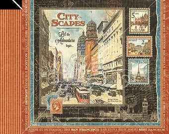 ON SALE Graphic 45 Cityscapes Scrapbook Paper