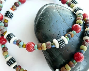 Artisan Multi Colored Czech Glass RARE Vintage Venetian African Trade Beads Bone Beads Coral Sterling Silver OOAK Tribal Bohemian Necklace
