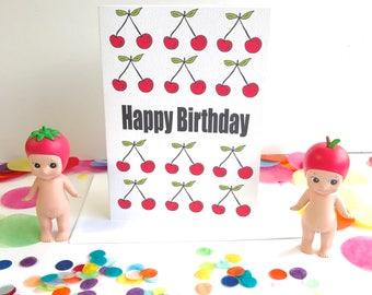 Happy Birthday Cherries Card - Free Postage