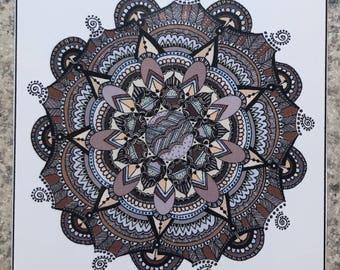 Mandala 1 - ACEO Print Of OOAK Original Colored Ink Drawing - Mandalas - Illustration- ATC - Artist Trading Card