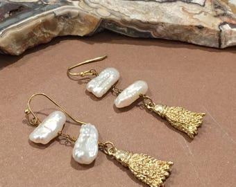 Dara Ettinger  Freshwater Pearl and Gold Metal tassel earrings