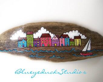 Isle of Skye, Seaside Village, Sailboat, Hand painted, Driftwood, Original, Folk Art, painting, Beach, Wood, New England Coast