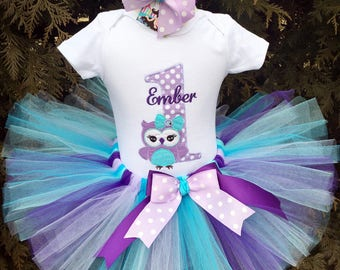 First Birthday Girl Outfit Purple, Owl 1st Birthday Tutu Outfit, Smash Cake Tutu Outfit