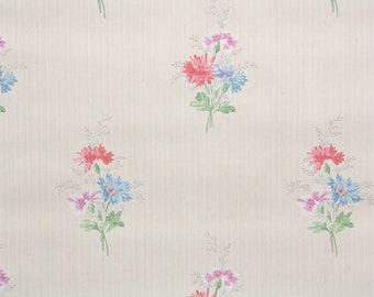 1940s Vintage Wallpaper by the Yard - Floral Wallpaper Pink and Blue Aster Bouquets on Cream