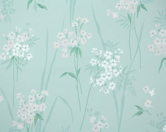 1940s Vintage Wallpaper by the Yard - Pink and White Blossoms, Floral Wallpaper