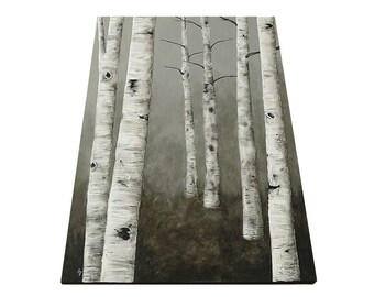 Aspen Tree Birch Tree canvas painting - monochrome ombre - modern landscape - oak forest painting - woodland forest art