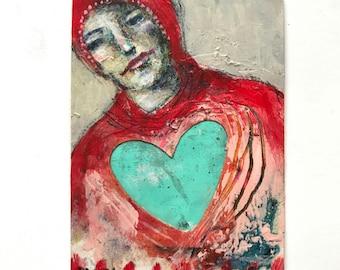 Heart, folk art figurative painting by Mystele