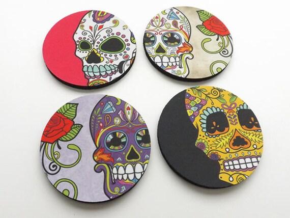 Drink Coaster, day of the dead wedding, halloween decor, dia de los muertos shower, hostess gift, sugar skull, calavera, skeleton, mug mat