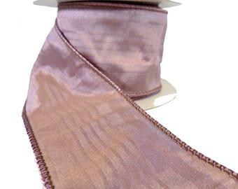 "3 Rolls Of Mauve Tonal Stripe Faux Silk Wired Ribbon  2.5"" Wide"