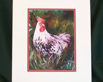 Chicken Painting - Limited Edition Print - Rooster - Free Range Chicken Print - Wall Art - Chicken Art - Bird Painting - Giclee