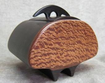 Box Lidded Vessel African Wenge Ebony Leopard wood by Mo Sewelson