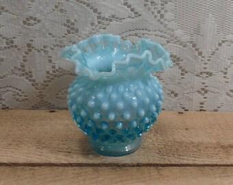 Fenton Hobnail Vase blue glass Vase