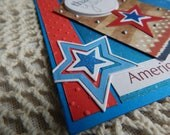 Handmade Military Card: thank you, honor flight, patriotic, stars, 4th of July, Memorial Day, red,complete card, handmade, balsampondsdesign