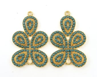 Pair of Turquoise Jewelry Components Green Gold Paisley Earring Findings Chandelier Connector Drop Charms |B5-11|2