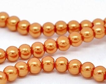 "30% Retirement Closeout - Orange, Glass Pearl, 8mm Glossy Round, 15"" Strand, 8S-GL8POR-015-001"