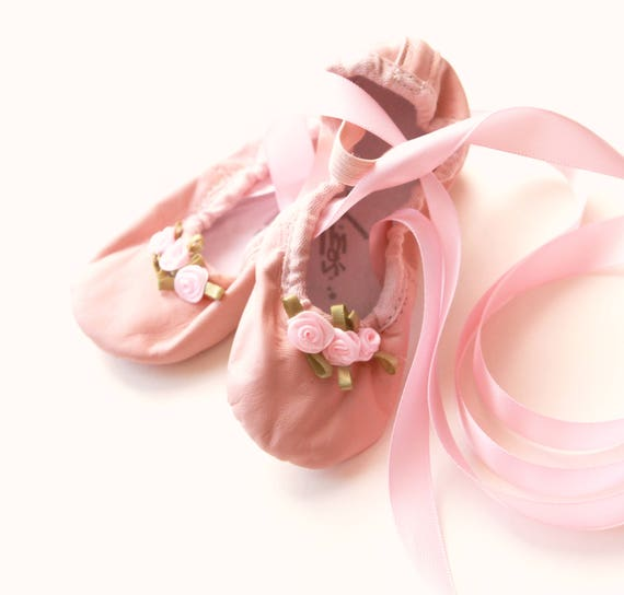 Embellished flower girl shoes, Upcycled ballet slippers, Toddler girl shoes, Little girl ballet, Pink flower girl wedding shoes, Size 7 - 8