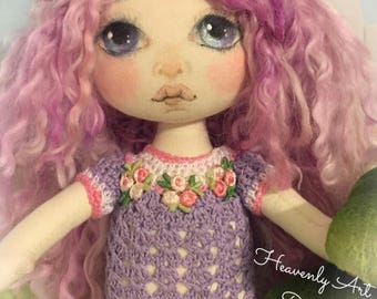 Cloth Art Doll, OOAK Fabric Textile Doll, Collector rag doll, Primitive Art Muneca, boneca