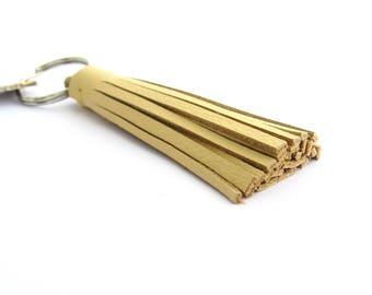 Tassel Key Ring, Yellow Leather Tassel, Gifts under 20, Gifts for Women, Yellow Tassel Keychain, Women's Key Ring, Leather Keychain