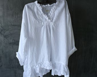 White European Linen Oversized Top
