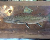 Trout on copper and cherry wood