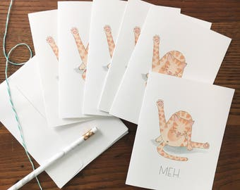 Cat Butt Card. Cat Humor. Watercolor Cat. Cat Card. Meh Card. Set of 6 Notecards. Cat Stationery. Blank Card. Cat Licking Butt. Cat Lover