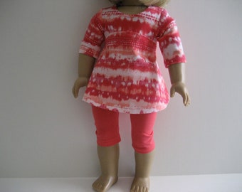 18 Inch Doll Clothes - Coral Tie-Dye Top made to fit dolls such as the American Girl and Maplelea doll clothes