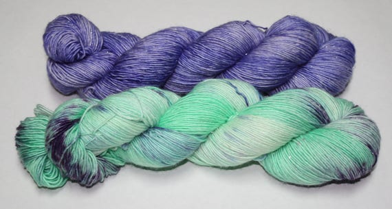 Ready to Ship - Mint Rain and Periwinkle Hand Dyed Yarn Shawl Set - Sparkle Singles