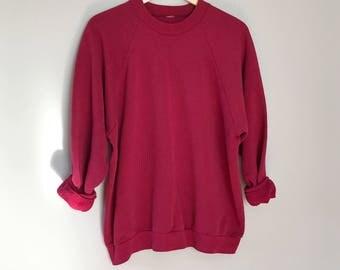 Vintage raglan sweatshirt / Oversized Maroon red sweatshirt slouchy sweatshirt