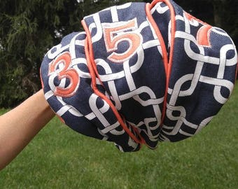 Women's Golf Club Covers, Golf Accessories, Navy Club Covers, Personalized Golf Accessories, Golf Club Head Cover Set, Ladies Golf Clubs