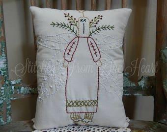 Decorative Christmas Angel  Pillow  - Hand Embroidered Pillow - Angel - Christmas In July - Decorative Throw Pillow