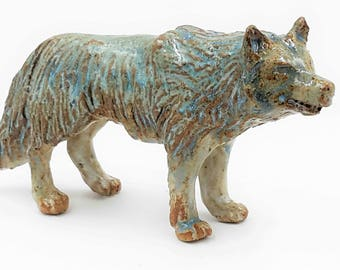 Stoneware wolf sculpture - she waits