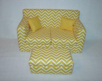18 Inch Doll Sofa, Coffee Table, Yellow Chevron,  Handmade  Modern Doll Furniture